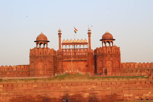 Red coloured fort in Delhi India