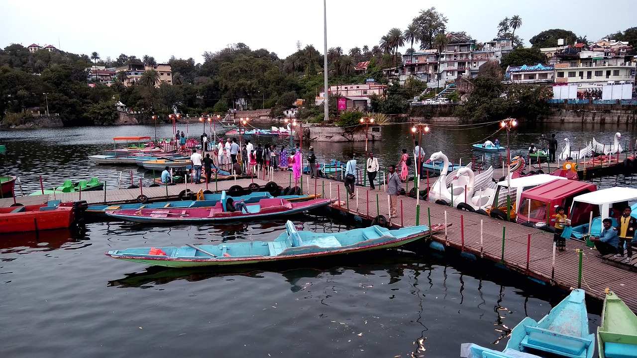 bunch of boats in a lake in Mount Abu, India