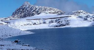frozen lake in Tawang in India