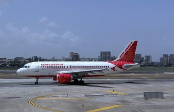 AirIndia flight parked in Mumbai Airport in India