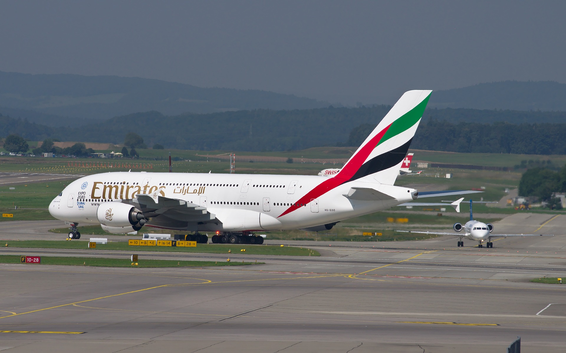 Emirates flights long view-flight parked in the airport