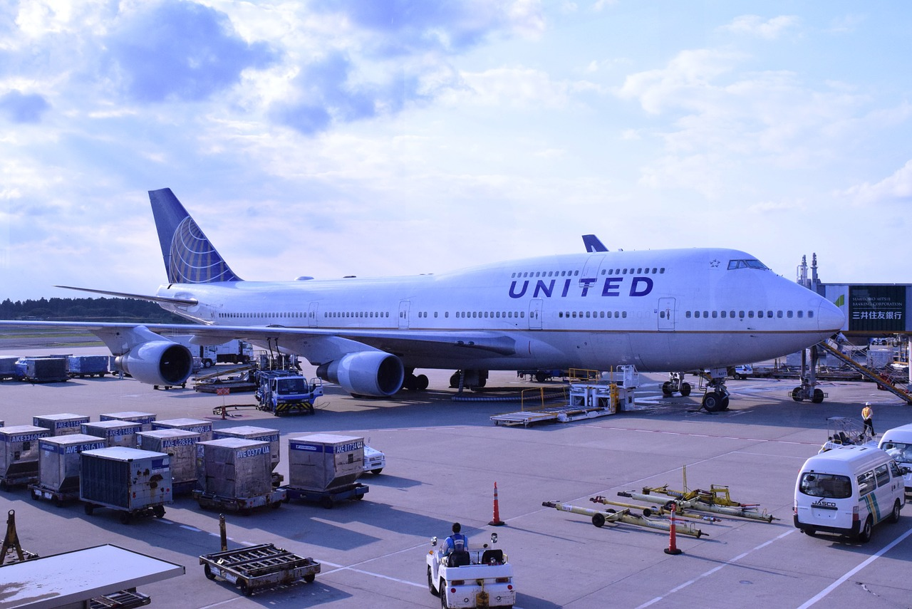 United Airlines in the airport